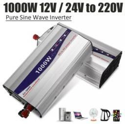 Inversor 600w pico 1000w de potência 12v/24v para 220v