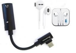 Fone Ouvido Iphone Lightning + Adaptador carregador e Áudio para Iphone 2 em 1