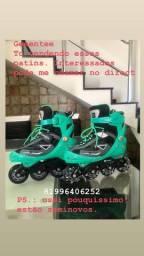 Vendendo patins na cor verde