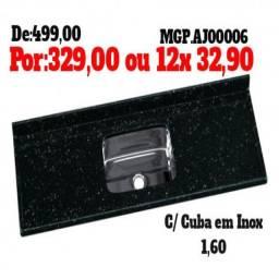 Qualidade e Preço Mais Barato - Pedra de Pia 1,60 Com Cuba de Inox-Entrega Gratis