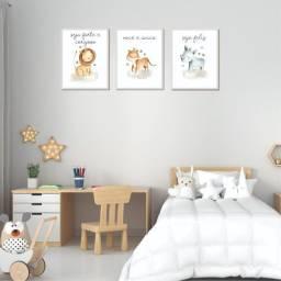 Kit de quadro infantil trio safári