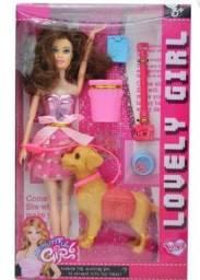 Boneca Estilo Barbie Com Cachorrinho