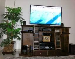 Rack para TV em Madeira maciça padrão Imbuia 2 gavetas e Porta CDs