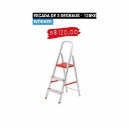 ESCADA DE ALUMÍNIO- 3 DEGRAUS - WORKER - GOIÂNIA