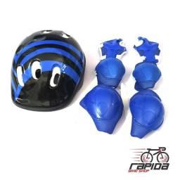 Kit Proteção Completo Plus Infantil Capacete, Joelheira, Cotoveleira - Sports Helmet
