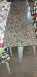 Vendo mesa de marmore com 6 cadeiras