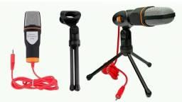 Microfone Condensador Para Gravação No Pc Com Cabo E Tripe