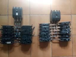 Conjuntos de disjuntores com a geral e barramento, prontos pra instalar na caixa
