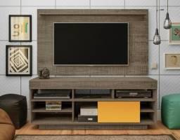 Rack Com Painel Roma Ideal para TVs até 50Polegadas, Rodízios e Suporte pra TV;