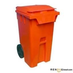 Contentor Contêiner de Lixo Novo com Rodas e Tampa 240L Laranja - Contemar / Taurusplast