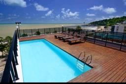 Exc:Flat beira mar Cabo Branco 42m2 mobiliado frente p/ o mar piscina cobertura