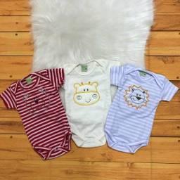 Ref07123 Body Manga Curta Smoby Baby Listrado Bordado