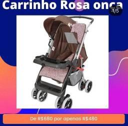 Carrinho de bebê rosa onça