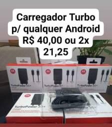 Carregador Turbo Motorola V8 e Tipo C p/ qualquer Android