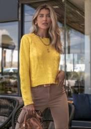 Blusa de tricô cropped amarelo