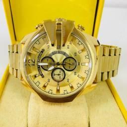 Relógio Diesel 10 Bar Dourado Pulseira em Aço Caixa em Aço (Urgente)