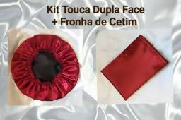 Kit Touca de Cetim Dupla Face + Fronha de Cetim (brinde 01 scrunchie)
