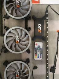 Kit Fans Dt3 Sports Sl120 Trio 3x Fan 120mm Rgb Ring + Leds
