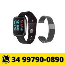 Relógio Smartwatch P80 Android e IOS Bluetooth c/ duas pulseiras