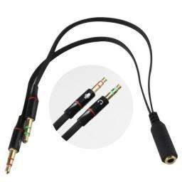 Kenux Cabo Adaptador Y 2 P2 Macho x1 P2 Fêmea Fone Microfone Headset