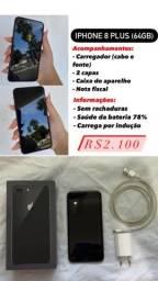 Título do anúncio: Iphone 8 plus preto usado