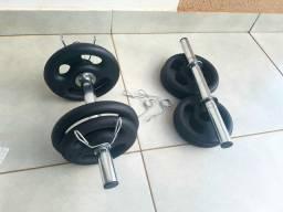 Kit 2 barras mais 20kg em anilhas