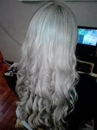 Peruca cabelo natural + extensão fibra orgânica (loiro platinado)