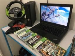 Xbox 360 slim + 4 jogos + volante + computador i5 - vendo ou troco