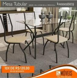 Mesa Tubolar com 4 Cadeiras + 2 Brinde - PROMOÇÃO MÊS DAS MÃES