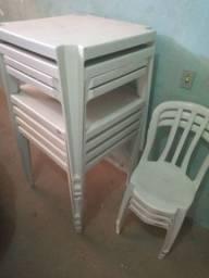 7 mesas completas cadeira e etc