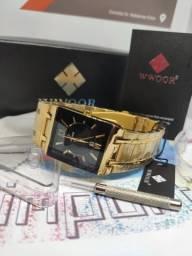 Lançamento Relógio de Luxo dourado à prova água de aço inoxidável