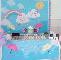Painel de festa infantil + forro para mesa (Tema chuva de amor)
