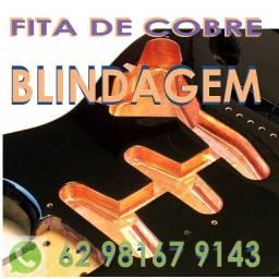 Fita de Cobre p/ Blindar Baixo Guitarra Anti Ruído fita condutiva Adesiva