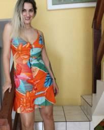 Vestido Alça Floral Botões - Tamanho M - @use.closetdemaria