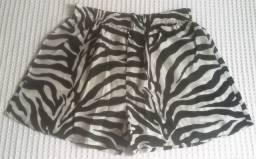 Shorts homewear animal print zebra em cetim - Novo!