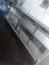 Balcão de açougue de 3 metros todo no inox marca caf