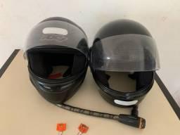 2 capacetes + tranca moto