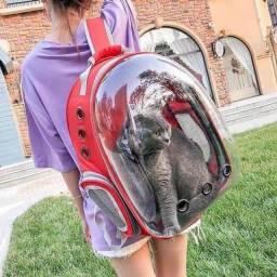 Mochila Pet Astronauta C/ Visão Panorâmica Transparente P/ Passear Cães e Gatos