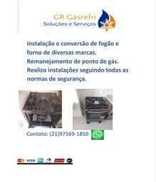 Instalação e conversão de fogão