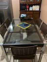 Título do anúncio: Mesa de vidro 6 lugares