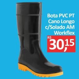 Bota PVC Preta Cano Longo com solado amarelo - Workflex - Promoção R$ 30,15