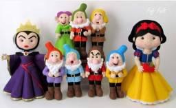 Bonecos em feltro Branca de Neve e os sete anões