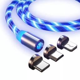 Carregador de Celular MAGNÉTICO 3 em 1 COM LED