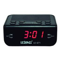 Rádio Relógio Despertador Digital De Mesa Lelong LE-671 Am Fm Preto Bivolt