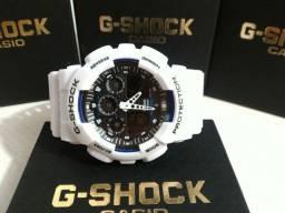 G-Shock GA-100 Branco Fundo Preto