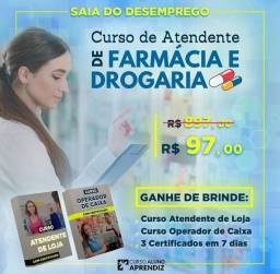 Título do anúncio: Curso Atendente de Farmácia e Drogaria