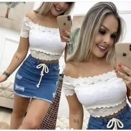 Cropped Blusa Ciganinha Ombro A Ombro Blusinha Renda Tendência Femenina