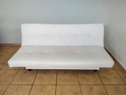 Sofá Cama em Couro Sintético, Branco, Semi Novo