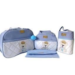 Bolsa maternidade personalizada urso príncipe kit 4 peças mochila menino promoção.