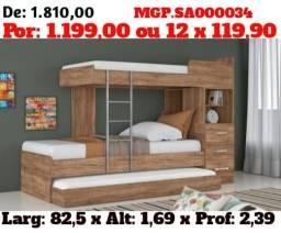 MS Liquidação- Beliche de Solteiro - Treliche de Solteiro-Cama de Soletiro- Dormitorio